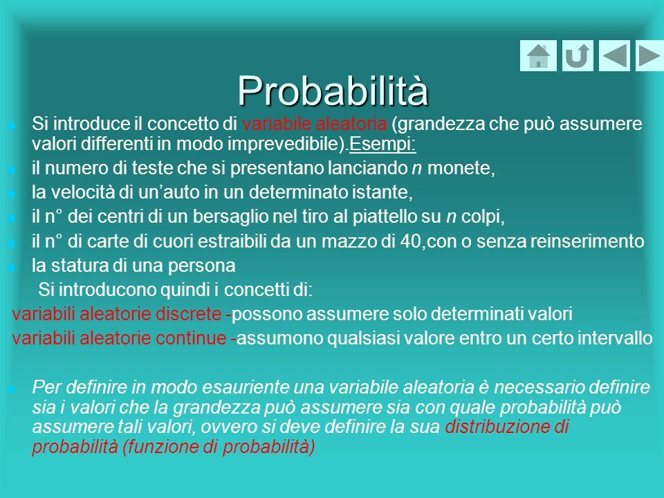Probabilità Si introduce il concetto di variabile aleatoria (grandezza che può assumere valori differenti in modo imprevedibile).Esempi: il numero di