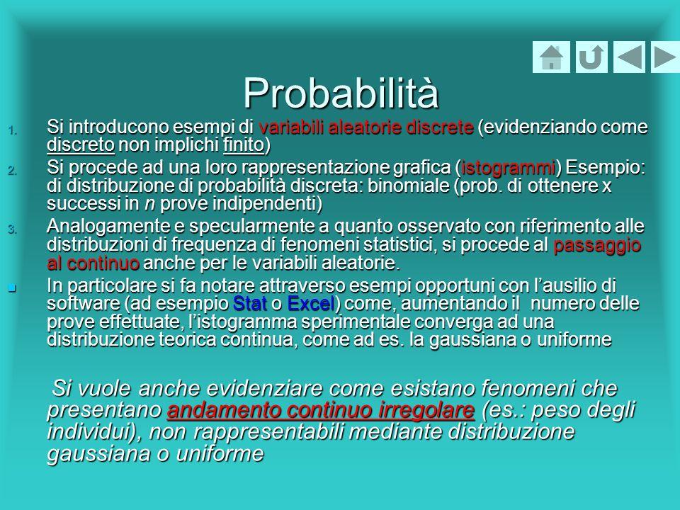 Probabilità 1. Si introducono esempi di variabili aleatorie discrete (evidenziando come discreto non implichi finito) 2. Si procede ad una loro rappre