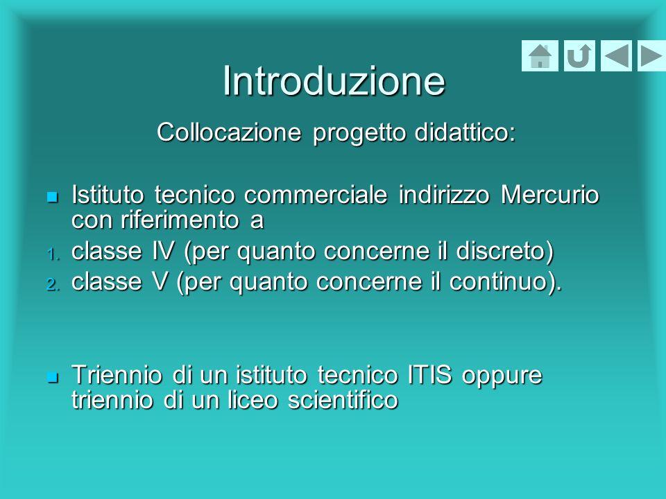 Introduzione Collocazione progetto didattico: Istituto tecnico commerciale indirizzo Mercurio con riferimento a Istituto tecnico commerciale indirizzo