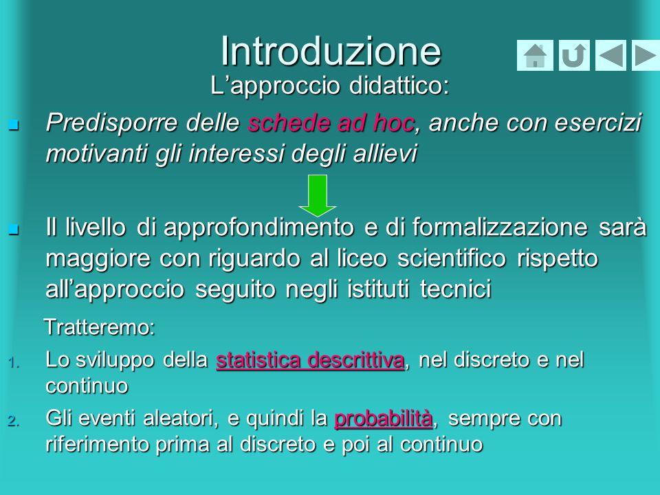 Introduzione Lapproccio didattico: Predisporre delle schede ad hoc, anche con esercizi motivanti gli interessi degli allievi Predisporre delle schede
