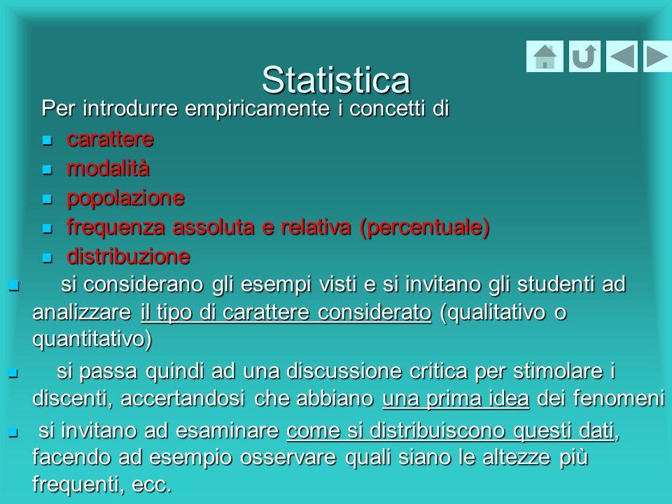 Statistica Per introdurre empiricamente i concetti di carattere carattere modalità modalità popolazione popolazione frequenza assoluta e relativa (per