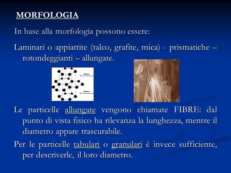 In base alla morfologia possono essere: Laminari o appiattite (talco, grafite, mica) - prismatiche – rotondeggianti – allungate. Le particelle allunga