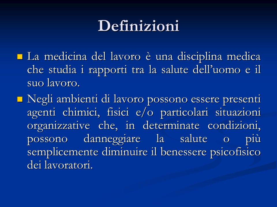 Definizioni La medicina del lavoro è una disciplina medica che studia i rapporti tra la salute delluomo e il suo lavoro. La medicina del lavoro è una