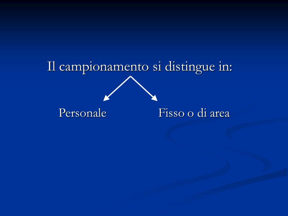 Il campionamento si distingue in: Fisso o di area Personale