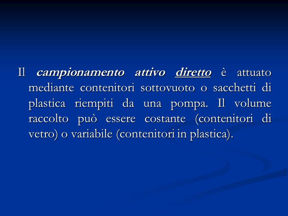 Il campionamento attivo diretto è attuato mediante contenitori sottovuoto o sacchetti di plastica riempiti da una pompa. Il volume raccolto può essere