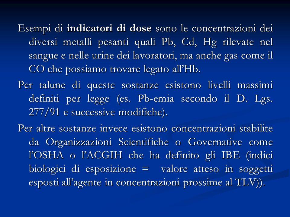 Esempi di indicatori di dose sono le concentrazioni dei diversi metalli pesanti quali Pb, Cd, Hg rilevate nel sangue e nelle urine dei lavoratori, ma