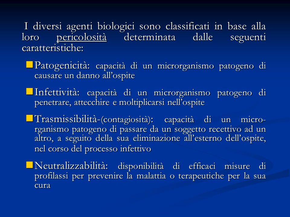 I diversi agenti biologici sono classificati in base alla loro pericolosità determinata dalle seguenti caratteristiche: I diversi agenti biologici son