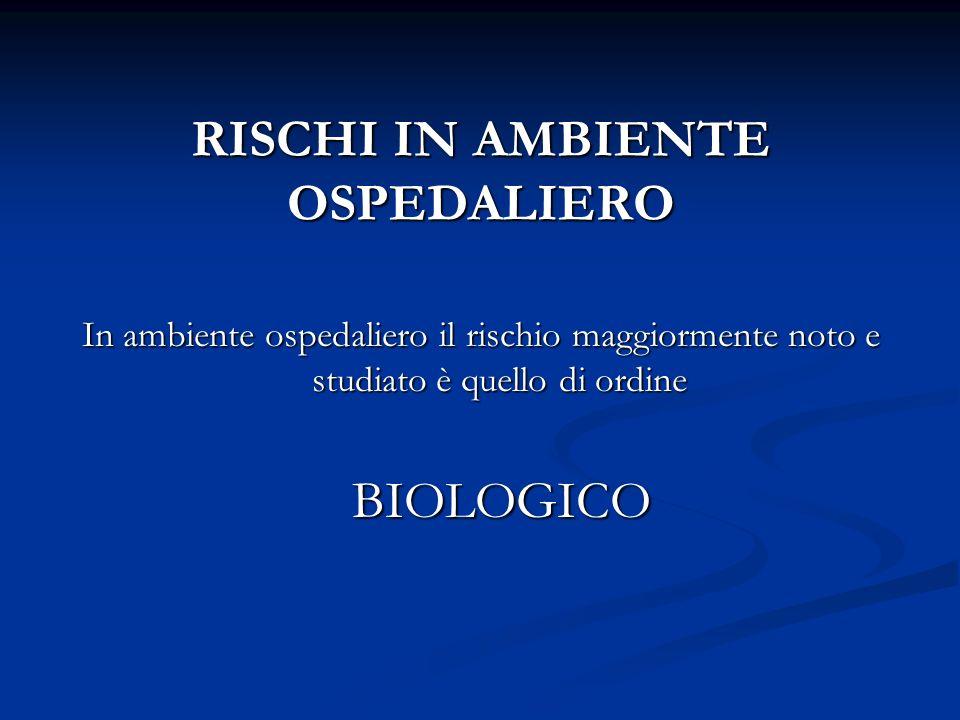 RISCHI IN AMBIENTE OSPEDALIERO In ambiente ospedaliero il rischio maggiormente noto e studiato è quello di ordine BIOLOGICO BIOLOGICO