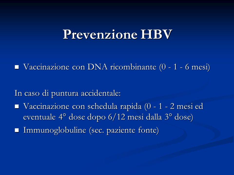 Prevenzione HBV Vaccinazione con DNA ricombinante (0 - 1 - 6 mesi) Vaccinazione con DNA ricombinante (0 - 1 - 6 mesi) In caso di puntura accidentale: