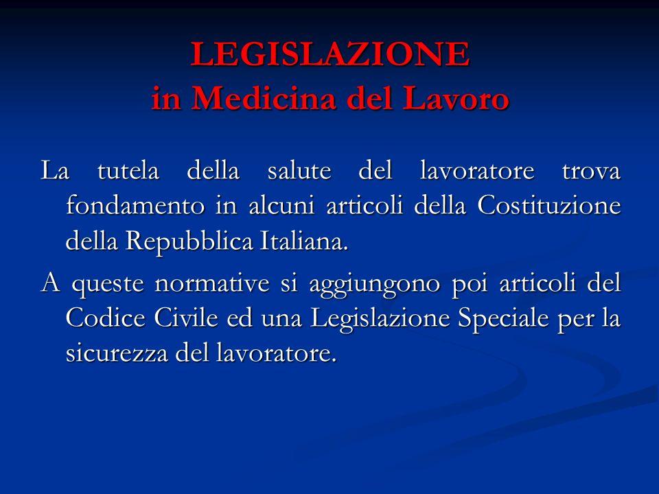LEGISLAZIONE in Medicina del Lavoro La tutela della salute del lavoratore trova fondamento in alcuni articoli della Costituzione della Repubblica Ital