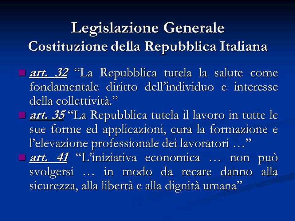 Legislazione Generale Costituzione della Repubblica Italiana art. 32 La Repubblica tutela la salute come fondamentale diritto dellindividuo e interess