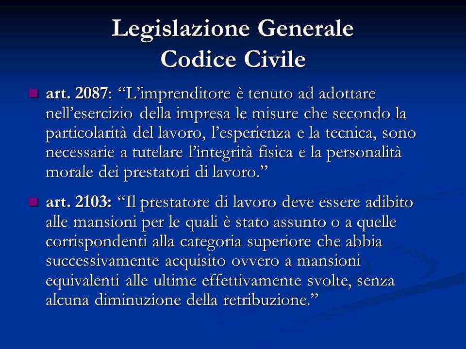 Legislazione Generale Codice Civile art. 2087: Limprenditore è tenuto ad adottare nellesercizio della impresa le misure che secondo la particolarità d