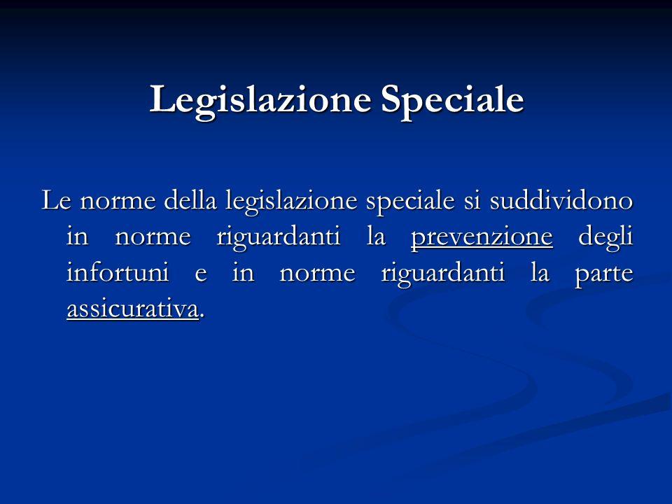 Legislazione Speciale Le norme della legislazione speciale si suddividono in norme riguardanti la prevenzione degli infortuni e in norme riguardanti l