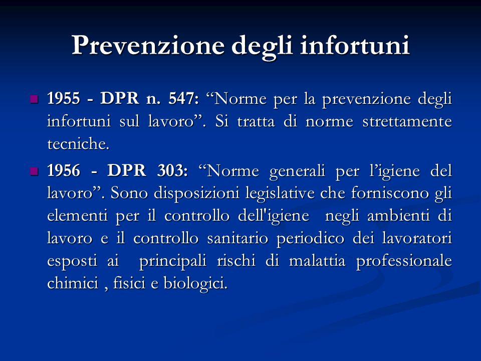 Prevenzione degli infortuni 1955 - DPR n. 547: Norme per la prevenzione degli infortuni sul lavoro. Si tratta di norme strettamente tecniche. 1955 - D