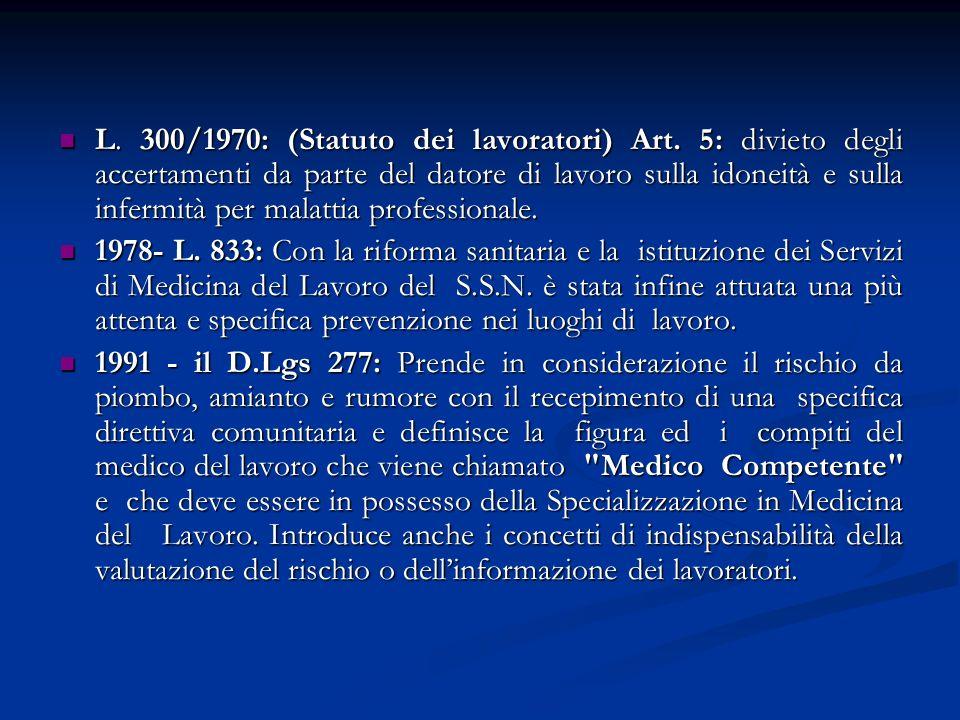L. 300/1970: (Statuto dei lavoratori) Art. 5: divieto degli accertamenti da parte del datore di lavoro sulla idoneità e sulla infermità per malattia p