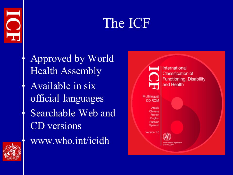The ICF Approved by World Health Assembly Available in six official languages Searchable Web and CD versions www.who.int/icidh