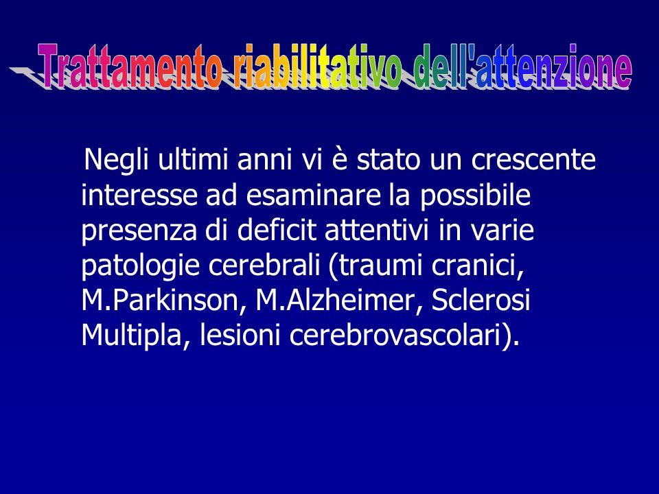 Negli ultimi anni vi è stato un crescente interesse ad esaminare la possibile presenza di deficit attentivi in varie patologie cerebrali (traumi crani