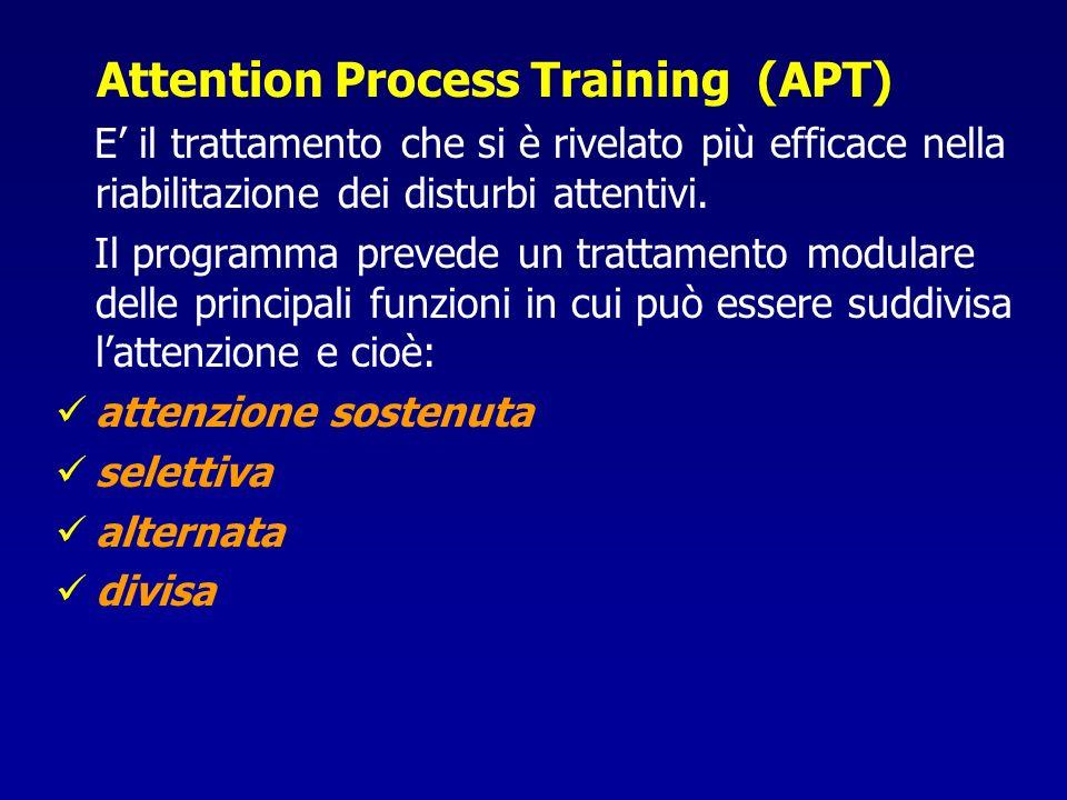 Attention Process Training (APT) E il trattamento che si è rivelato più efficace nella riabilitazione dei disturbi attentivi. Il programma prevede un
