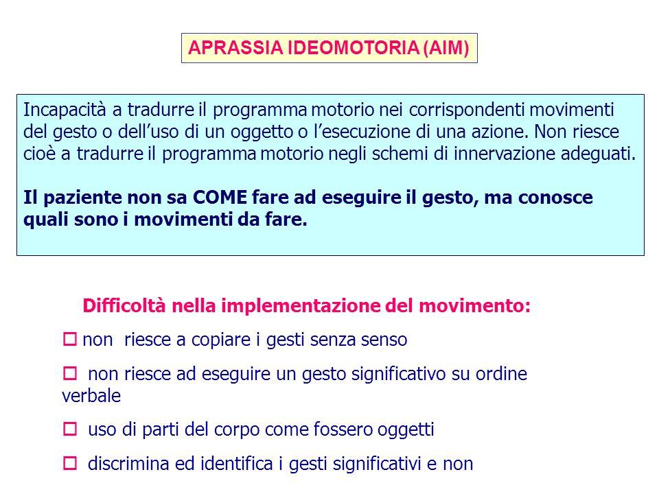 APRASSIA IDEOMOTORIA (AIM) Incapacità a tradurre il programma motorio nei corrispondenti movimenti del gesto o delluso di un oggetto o lesecuzione di