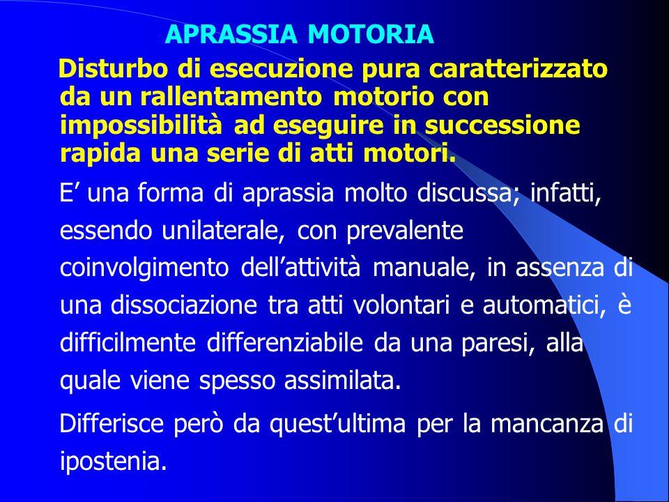 APRASSIA MOTORIA Disturbo di esecuzione pura caratterizzato da un rallentamento motorio con impossibilità ad eseguire in successione rapida una serie