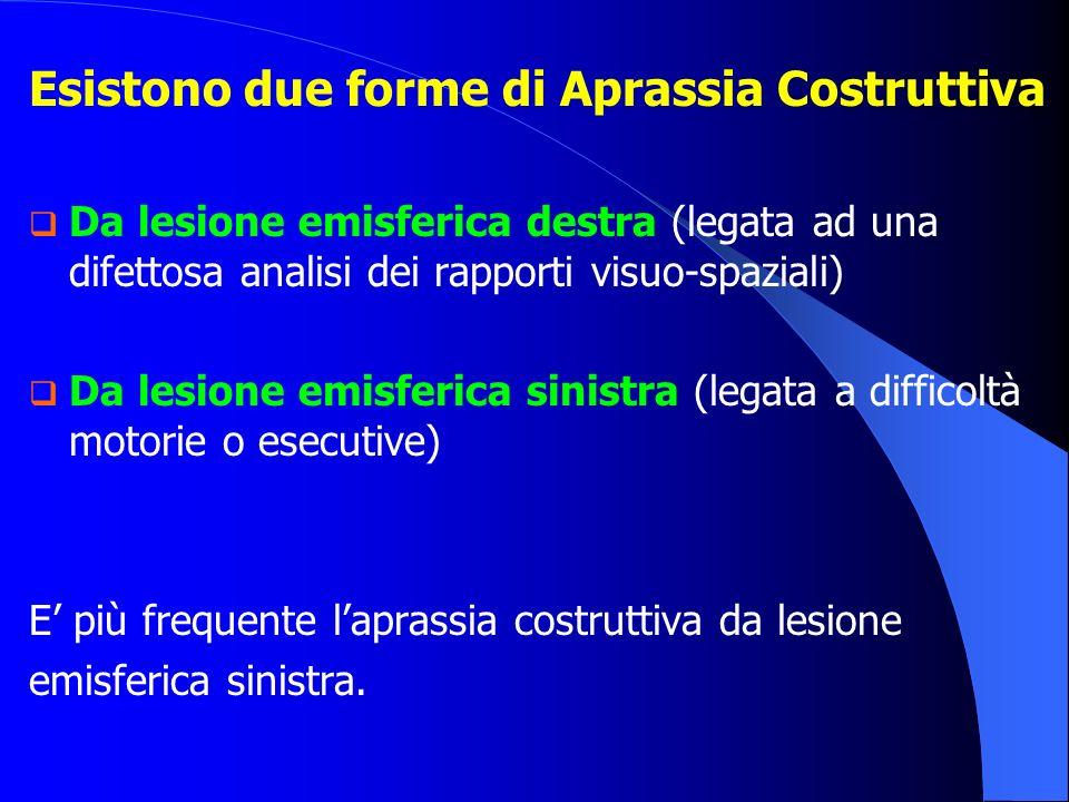 Esistono due forme di Aprassia Costruttiva Da lesione emisferica destra (legata ad una difettosa analisi dei rapporti visuo-spaziali) Da lesione emisf