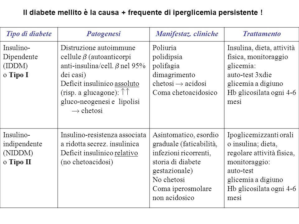 Il diabete mellito è la causa + frequente di iperglicemia persistente ! Tipo di diabetePatogenesiManifestaz. clinicheTrattamento Insulino- Dipendente