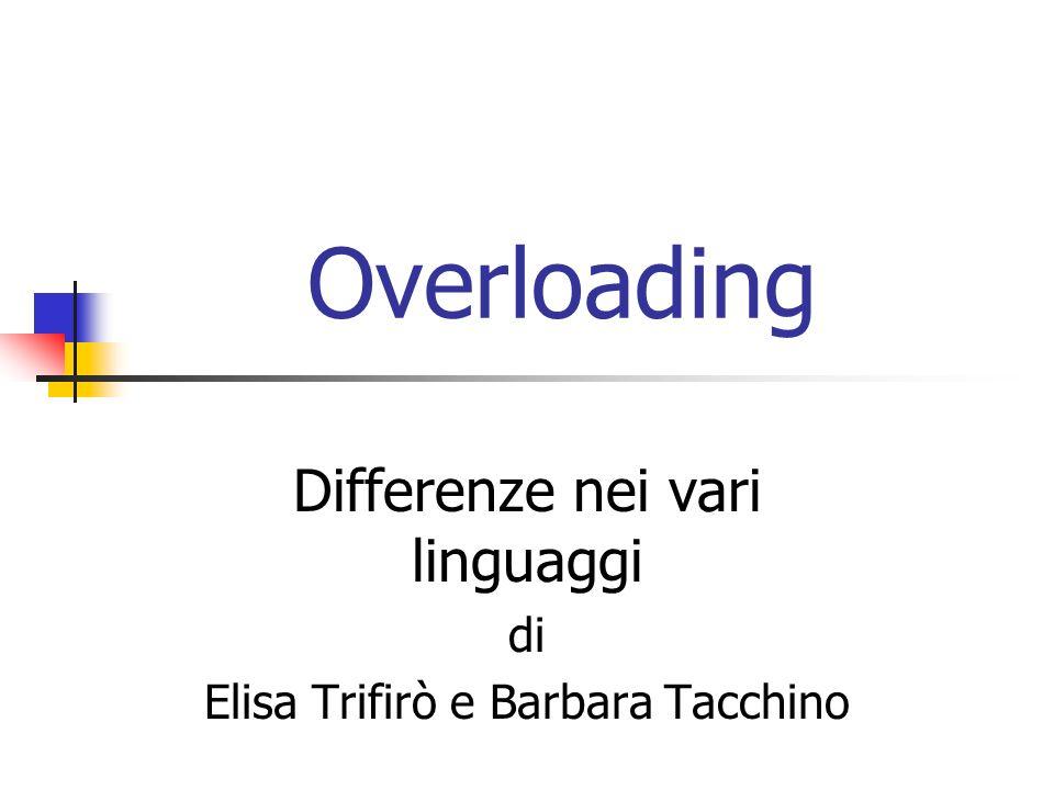 Overloading Differenze nei vari linguaggi di Elisa Trifirò e Barbara Tacchino