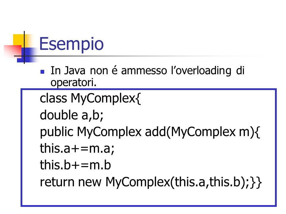 Esempio In Java non é ammesso loverloading di operatori. class MyComplex{ double a,b; public MyComplex add(MyComplex m){ this.a+=m.a; this.b+=m.b retu