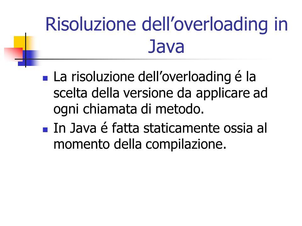 Risoluzione delloverloading in Java La risoluzione delloverloading é la scelta della versione da applicare ad ogni chiamata di metodo. In Java é fatta