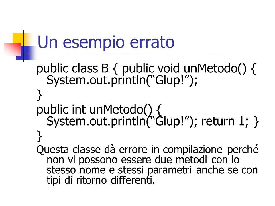 Un esempio errato public class B { public void unMetodo() { System.out.println(Glup!); } public int unMetodo() { System.out.println(Glup!); return 1;
