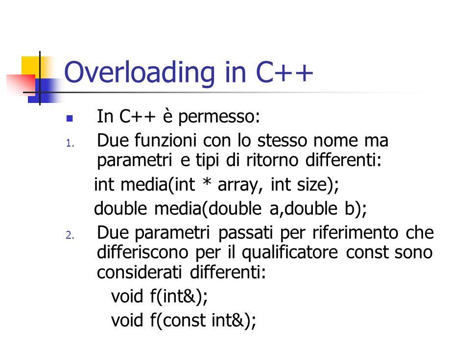Overloading in C++ In C++ è permesso: 1. Due funzioni con lo stesso nome ma parametri e tipi di ritorno differenti: int media(int * array, int size);