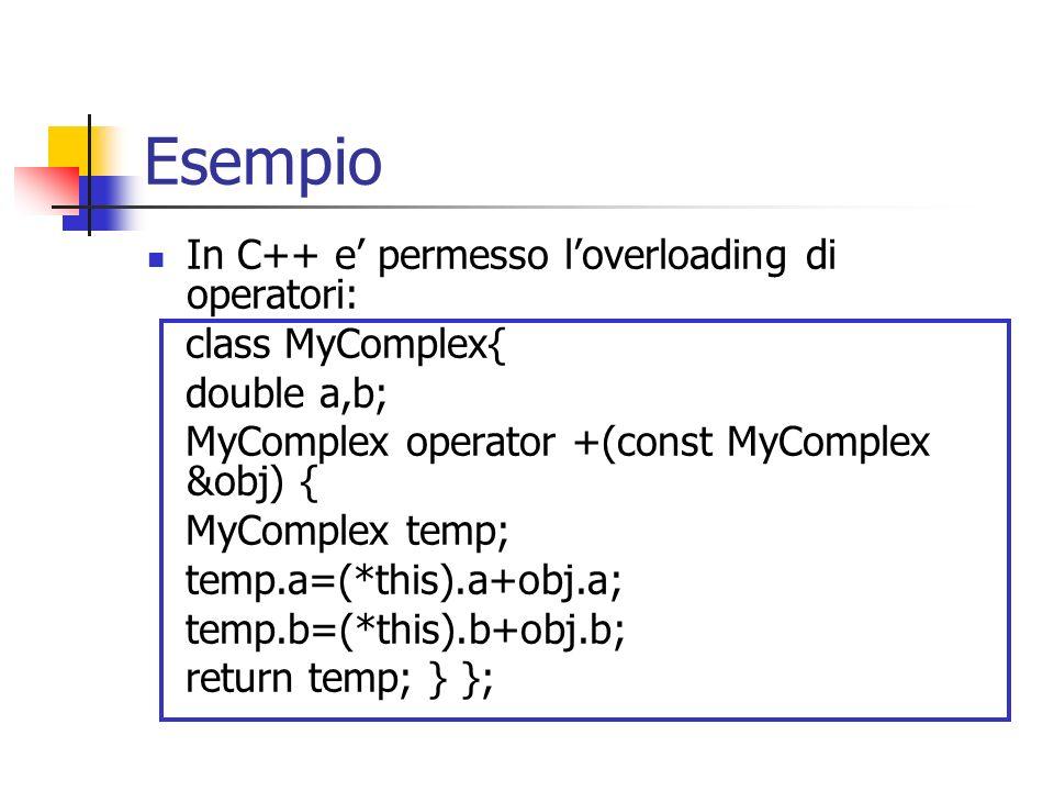 Esempio In C++ e permesso loverloading di operatori: class MyComplex{ double a,b; MyComplex operator +(const MyComplex &obj) { MyComplex temp; temp.a=