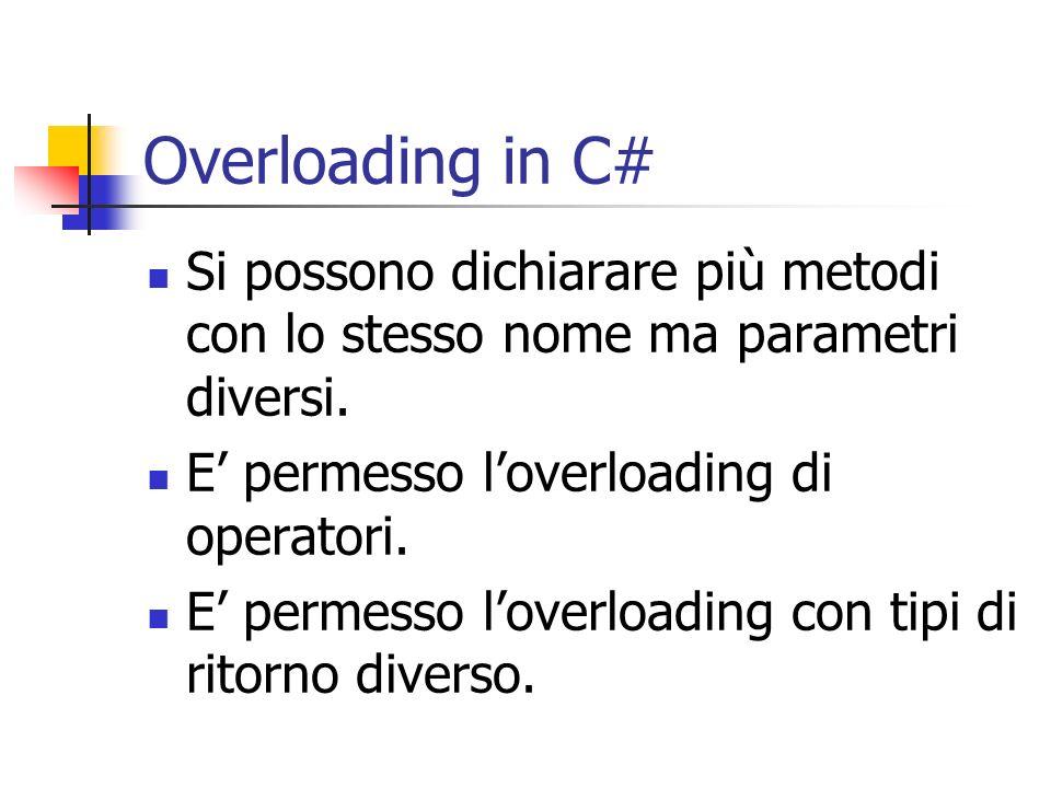 Overloading in C# Si possono dichiarare più metodi con lo stesso nome ma parametri diversi. E permesso loverloading di operatori. E permesso loverload