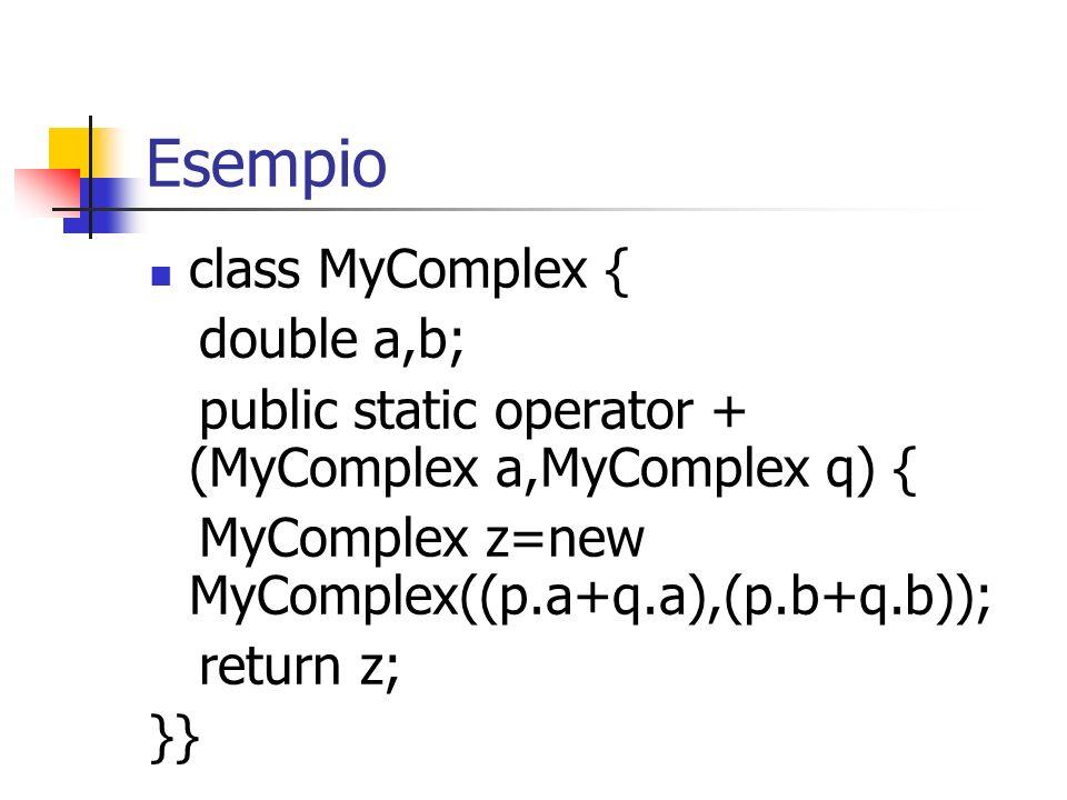 Esempio class MyComplex { double a,b; public static operator + (MyComplex a,MyComplex q) { MyComplex z=new MyComplex((p.a+q.a),(p.b+q.b)); return z; }