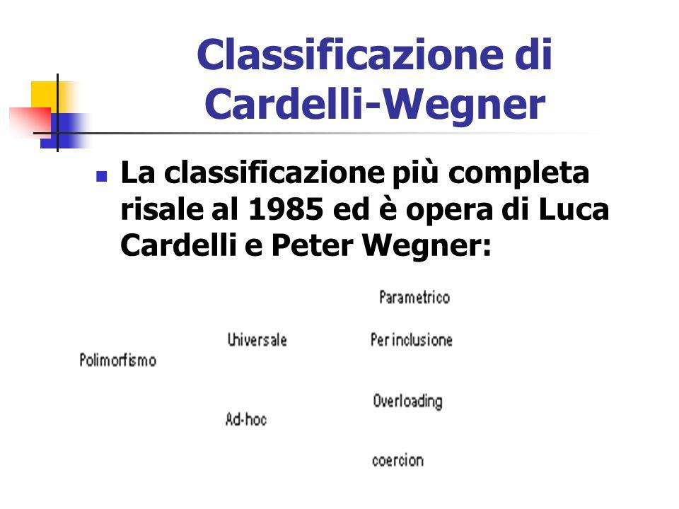 Classificazione di Cardelli-Wegner La classificazione più completa risale al 1985 ed è opera di Luca Cardelli e Peter Wegner: