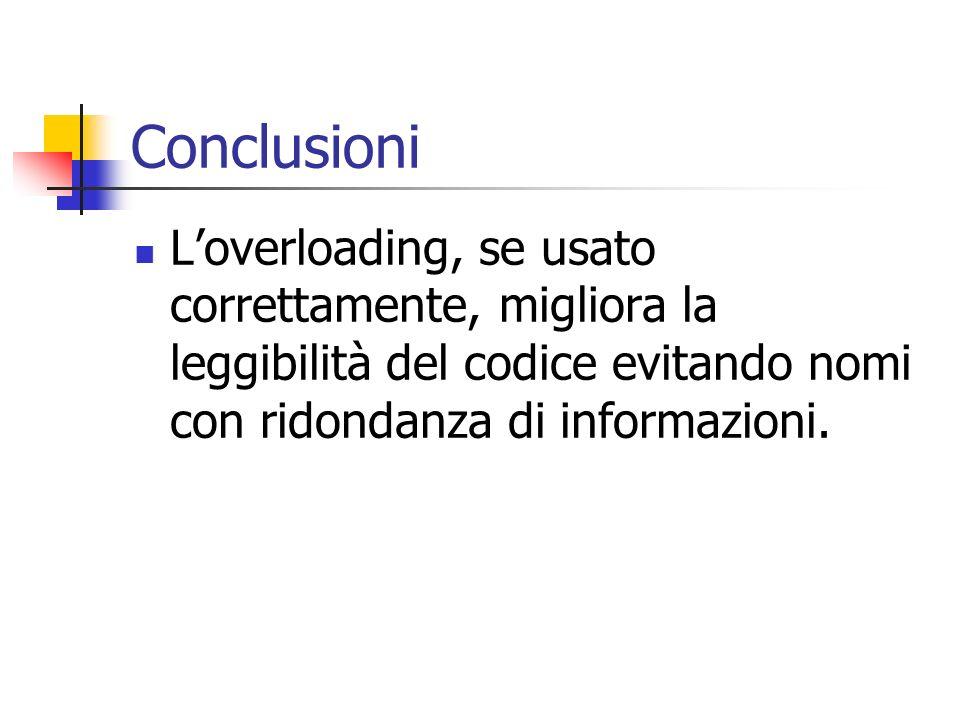 Conclusioni Loverloading, se usato correttamente, migliora la leggibilità del codice evitando nomi con ridondanza di informazioni.