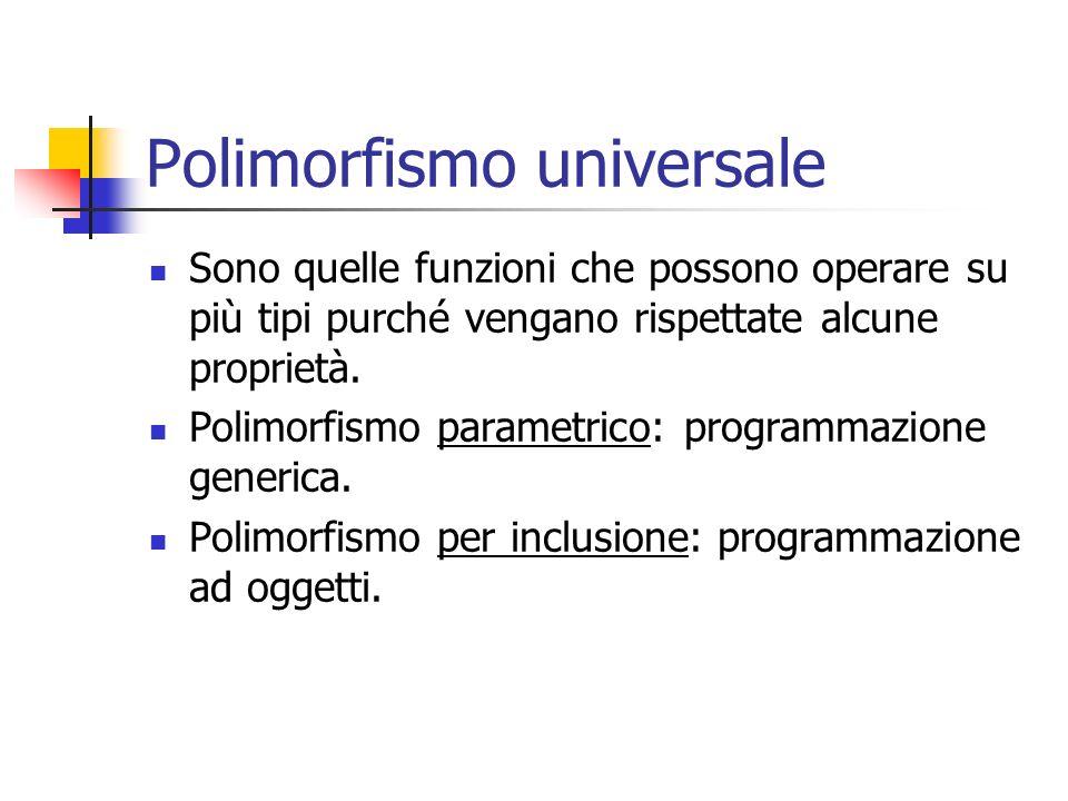 Polimorfismo universale Sono quelle funzioni che possono operare su più tipi purché vengano rispettate alcune proprietà. Polimorfismo parametrico: pro