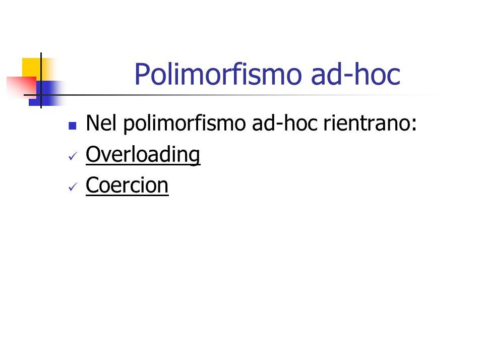 Polimorfismo ad-hoc Nel polimorfismo ad-hoc rientrano: Overloading Coercion