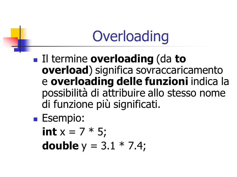 Overloading Il termine overloading (da to overload) significa sovraccaricamento e overloading delle funzioni indica la possibilità di attribuire allo
