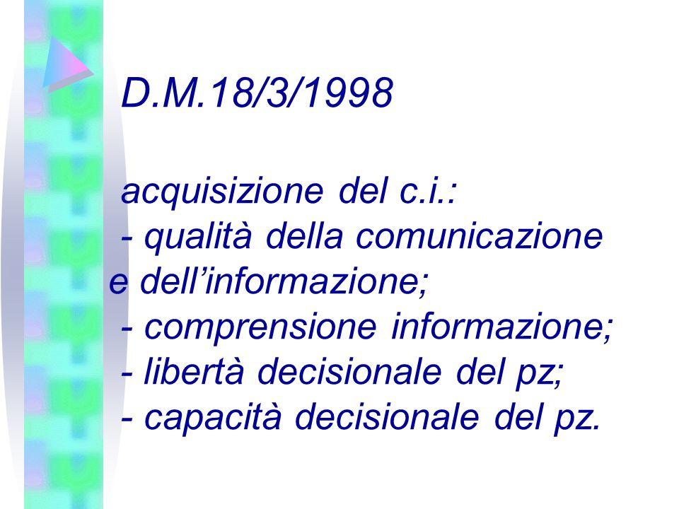 D.M.18/3/1998 acquisizione del c.i.: - qualità della comunicazione e dellinformazione; - comprensione informazione; - libertà decisionale del pz; - ca