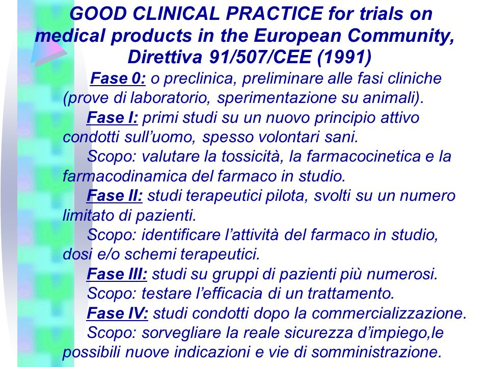 GOOD CLINICAL PRACTICE for trials on medical products in the European Community, Direttiva 91/507/CEE (1991) Fase 0: o preclinica, preliminare alle fa