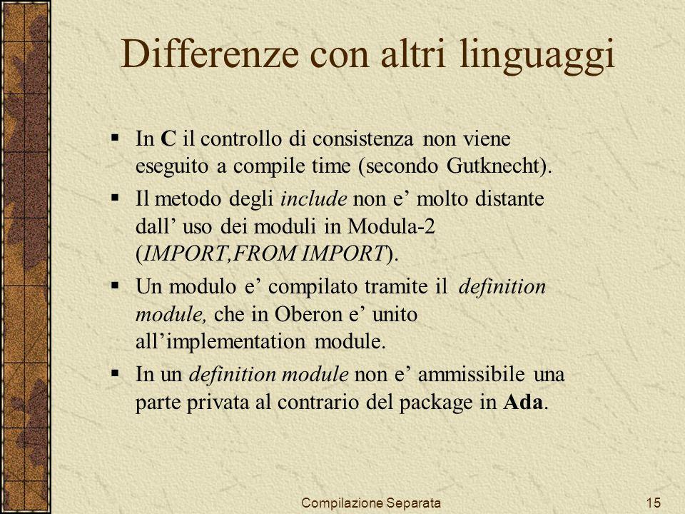 Compilazione Separata15 Differenze con altri linguaggi In C il controllo di consistenza non viene eseguito a compile time (secondo Gutknecht).