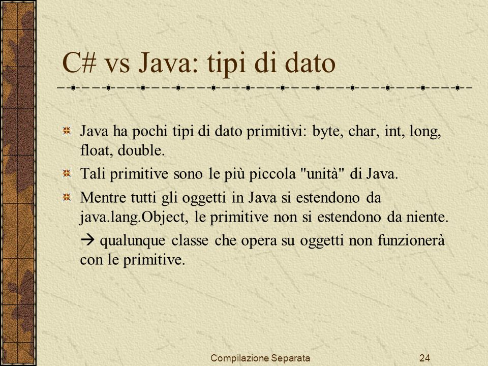 Compilazione Separata24 Java ha pochi tipi di dato primitivi: byte, char, int, long, float, double.