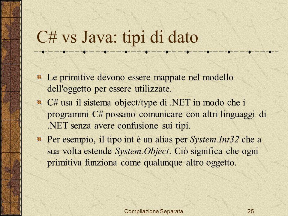 Compilazione Separata25 C# vs Java: tipi di dato Le primitive devono essere mappate nel modello dell oggetto per essere utilizzate.