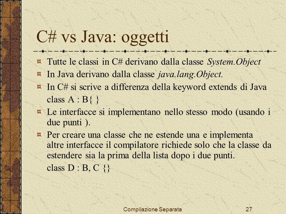 Compilazione Separata27 C# vs Java: oggetti Tutte le classi in C# derivano dalla classe System.Object In Java derivano dalla classe java.lang.Object.