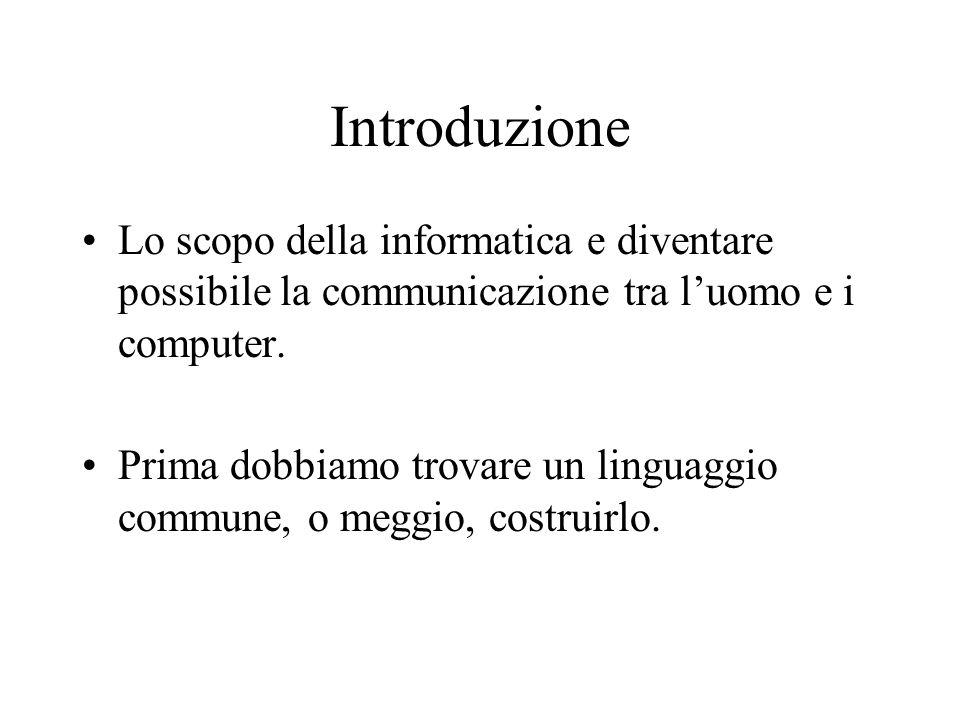 Introduzione Lo scopo della informatica e diventare possibile la communicazione tra luomo e i computer. Prima dobbiamo trovare un linguaggio commune,