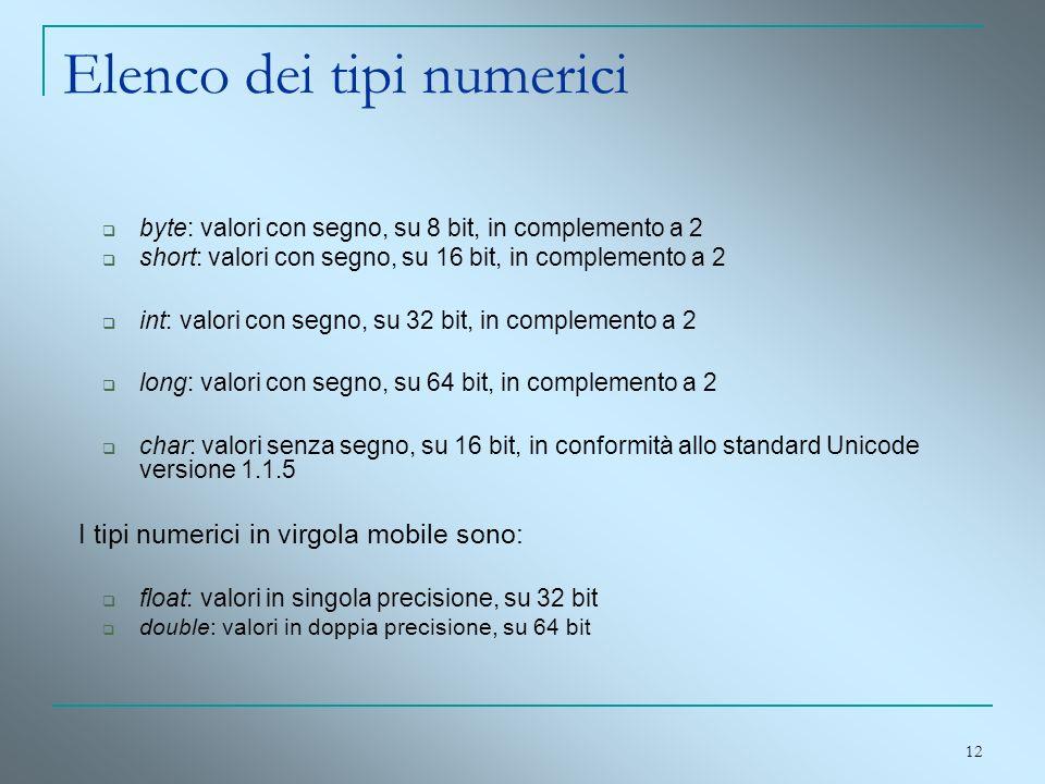 12 Elenco dei tipi numerici byte: valori con segno, su 8 bit, in complemento a 2 short: valori con segno, su 16 bit, in complemento a 2 int: valori co