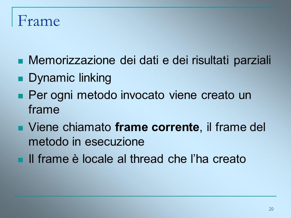 20 Frame Memorizzazione dei dati e dei risultati parziali Dynamic linking Per ogni metodo invocato viene creato un frame Viene chiamato frame corrente
