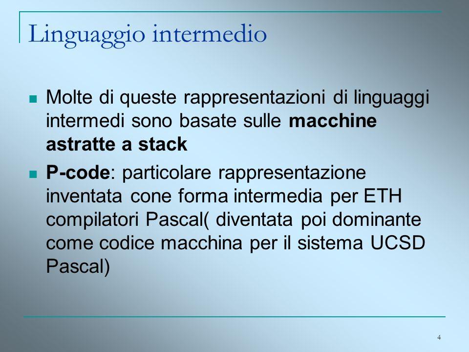 4 Linguaggio intermedio Molte di queste rappresentazioni di linguaggi intermedi sono basate sulle macchine astratte a stack P-code: particolare rappre
