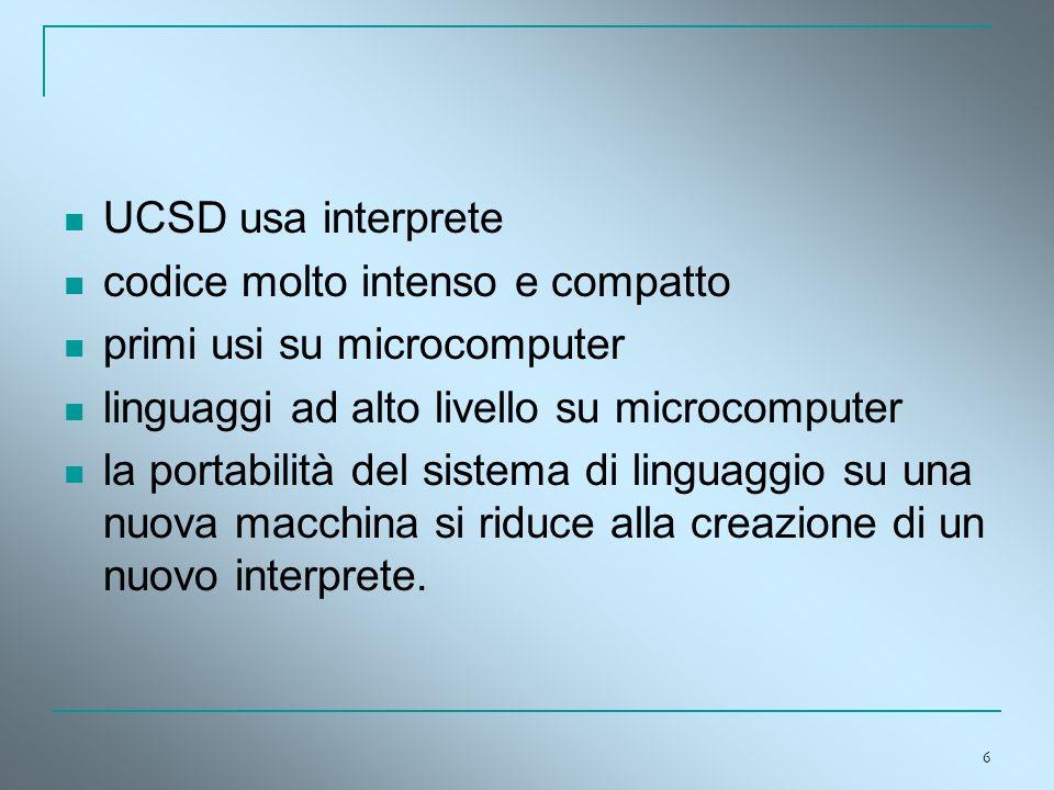 6 UCSD usa interprete codice molto intenso e compatto primi usi su microcomputer linguaggi ad alto livello su microcomputer la portabilità del sistema
